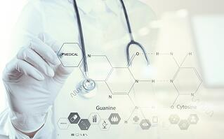 Double exposure of chemist doctor hand drawing chemical formulas on virtual board.jpeg