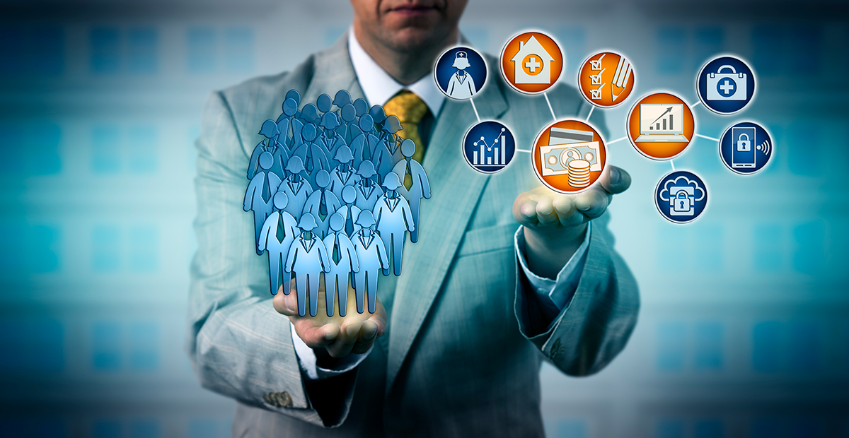Business manager balancing personnel with revenue icons